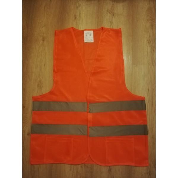 Жилет сигнальный дорожный оранжевый  с карманами